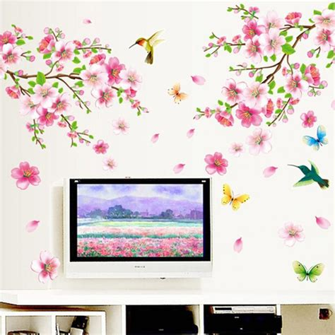 cherry decorations for home butterfly cherry blossom flower tree branch wall decals
