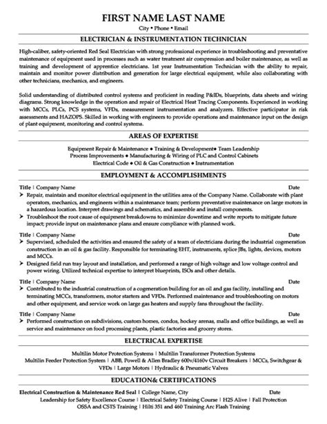 resume format for instrument technician electrician instrumentation technician resume template