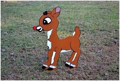 rudolph yard art outdoor christmas decoration by pricklypaw