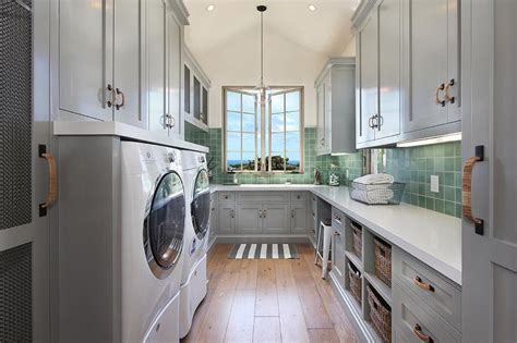 Bathroom Hamper Cabinet Laundry Rooms White Grid Tiled Floor Design Ideas