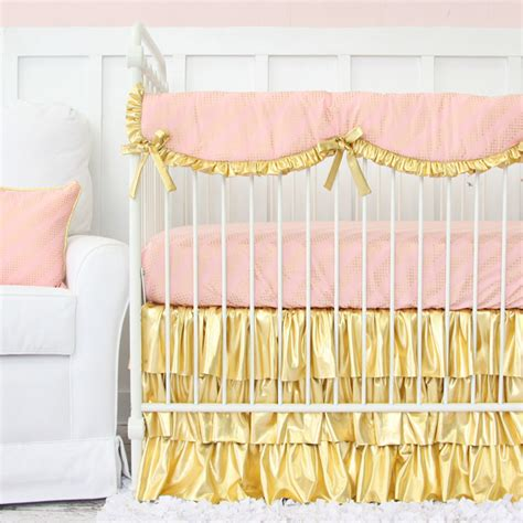 pink and gold crib bedding gold and pink baby bedding