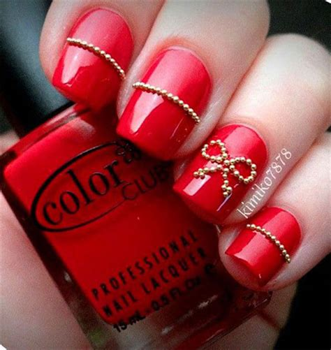 easy nail art red simple red wedding nail art designs ideas 2014