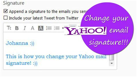 yahoo email unavailable how to change your yahoo email signature youtube
