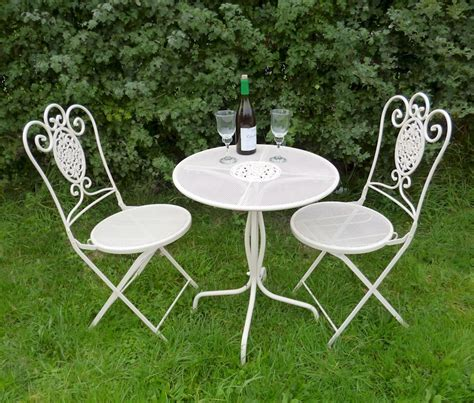 Chic Patio Furniture Vintage Shabby Chic Bistro Set Garden Furniture Patio Chairs And Table Dining Ebay