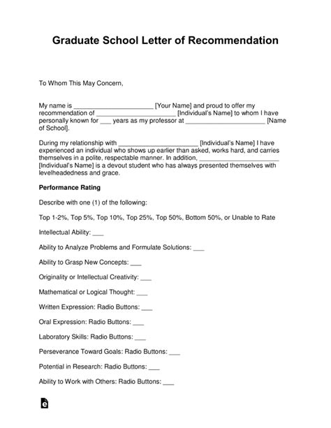 Free Graduate School Letter Of Recommendation Template With Sles Pdf Word Eforms Phd Recommendation Letter Template