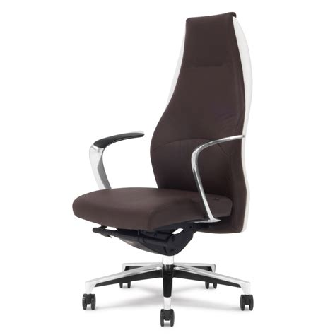 Leather Executive Chair by Wrigley Genuine Leather Aluminum Base High Back Executive