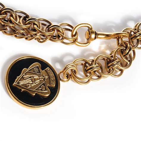 black gold chain gucci chain crest charm adjustable belt gold black 79591
