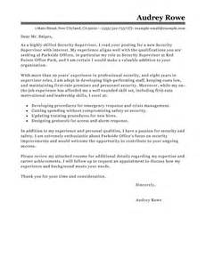 leading professional security supervisor cover letter