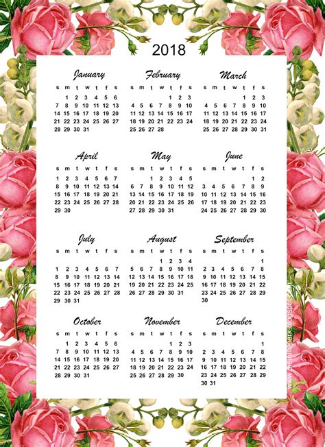 free printable 2018 calendar quot roses quot year at a glance