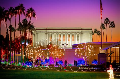 christmas lights on the mesa arizona temple grounds