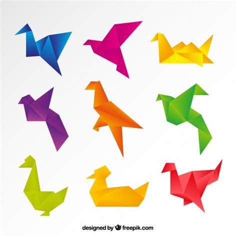 Colorful Origami - colorful origami birds vector premium