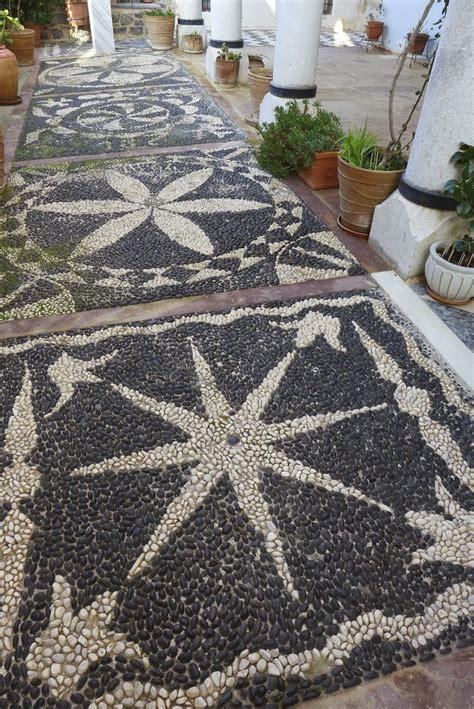 garden pathway pebble mosaic ideas   home