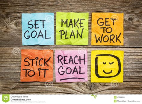 make plan set and reach goal concept stock image image of note