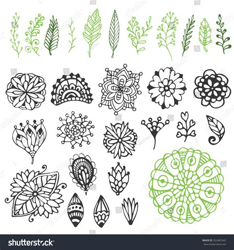 doodle nature zentangle nature collection vector stock vector