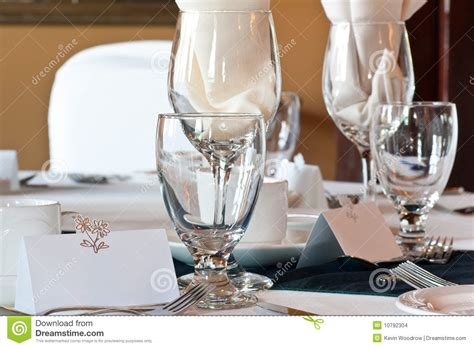 Glasses Table Setting Wedding Table Place Setting With Blank Place Card Stock Photo Image 10792304