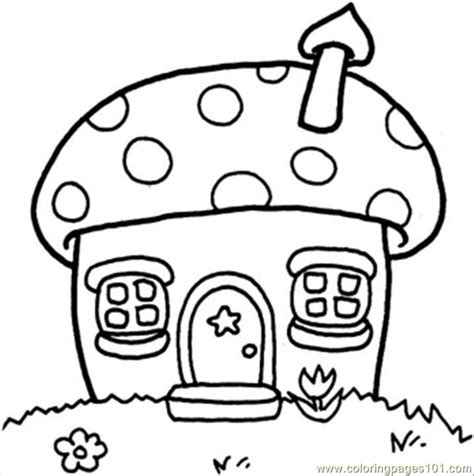 Mushroom Cottage Coloring Page   Free Houses Coloring