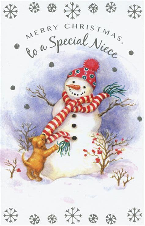 snowman puppy niece christmas card  freedom