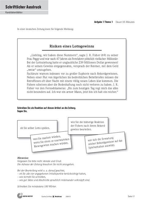 Beschwerdebrief Schreiben B1 b2 teste