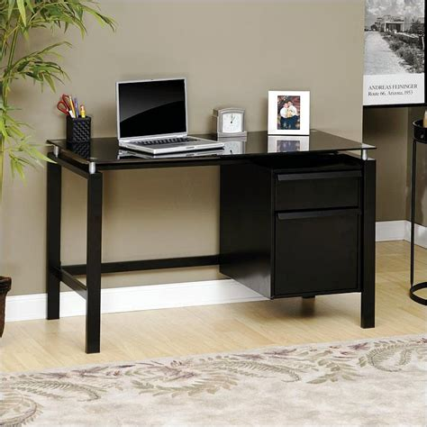 lake point collection l desk sauder lake point writing laptop desk black glass