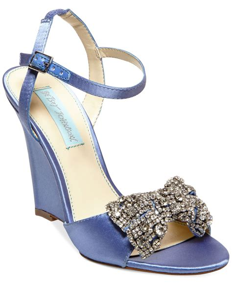 evening wedge sandals lyst betsey johnson blue by dress wedge evening sandals