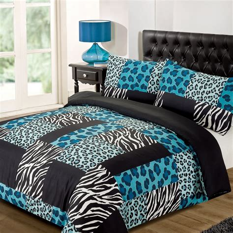 Cheetah Print Bed Set Kruger Zebra Leopard Black White Animal Print Duvet Quilt Cover Bedding Set Ebay