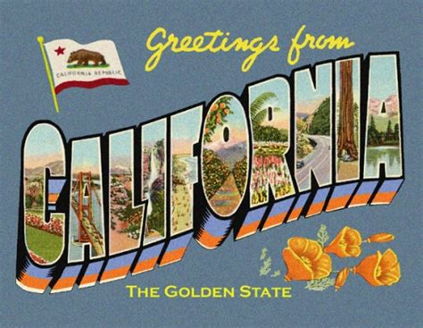 printable state postcards greetings from california postcard