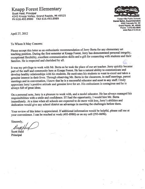Sle Reference Letter For From Principal Letter Of Recommendation For Principal Free Resumes Tips