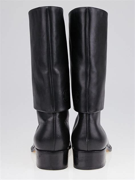 chanel black leather foldover flat boots size 8 38 5
