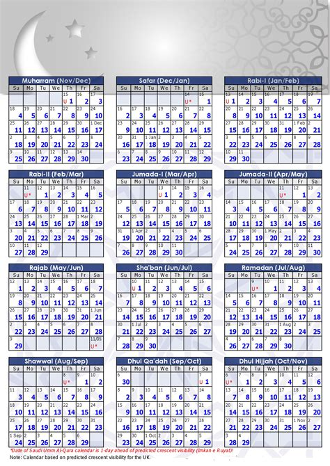 Calendrier Hijri Hijri Calendar 1434 Islamic Calendar 2012 13