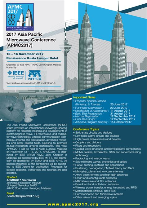 ieee malaysia section cfp asia pacific microwave conference apmc 2017 ieee