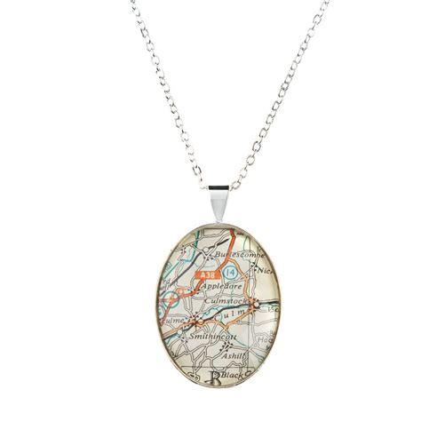 map personalised pendant necklace oval by ellie ellie