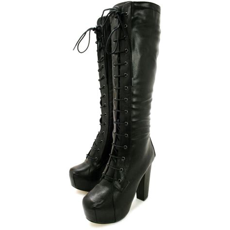 buy evie heeled concealed platform knee high boots black