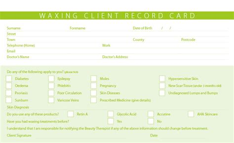 client card template new waxing treatment consultation client record cards ebay
