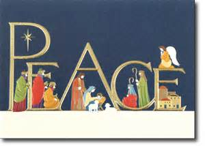 peace with nativity religious card