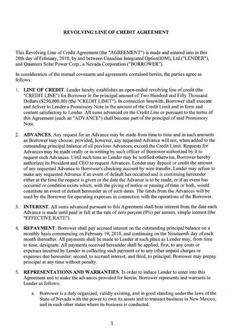 Personal Line Of Credit Agreement Template Quantum Solar Power Corp Form 10 Q Ex 10 4 Revolving Line Of Credit Agreement May 17 2010