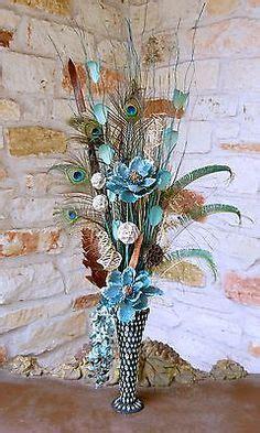 silk flower arrangement peacock feathers in home decor and details about artificial flower arrangement peacock
