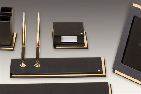 Tabac 995 Master Premium Exclusive Gold Desk Set Black Luxury Desk Accessories