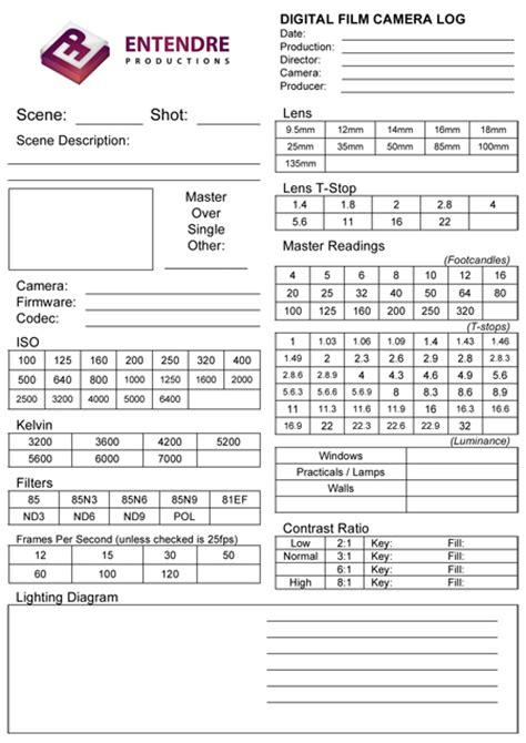 digital film camera log including template