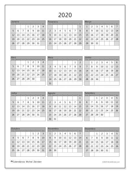 Calendário 2020 (37DS) | Calendário para impressão
