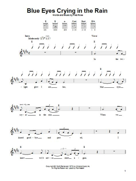 strumming pattern behind blue eyes blue eyes crying in the rain sheet music by willie nelson