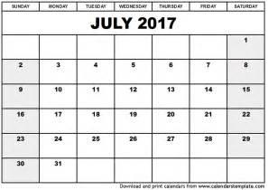 Calendar 2017 July To September July 2017 Calendar Template