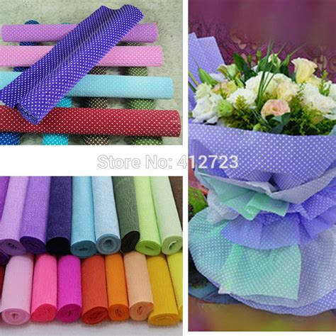 How To Make Crinkle Paper Flowers - 250x50cm roll pink white colored crepe paper diy flower