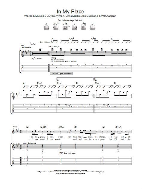 The Place Guitar Tab In My Place By Coldplay Guitar Tab Guitar Instructor