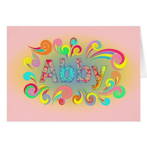 Happy Birthday Name Card Happy Birthday Swirly Design Abby Name Card Zazzle
