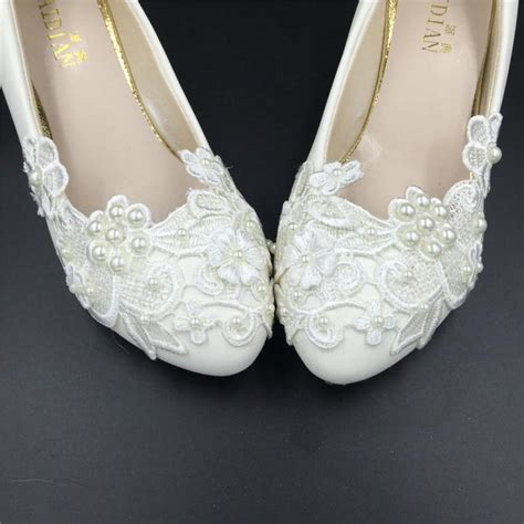 Ivory Lace Wedding Shoes by Ivory White Flower Wedding Shoes Lace Flowers