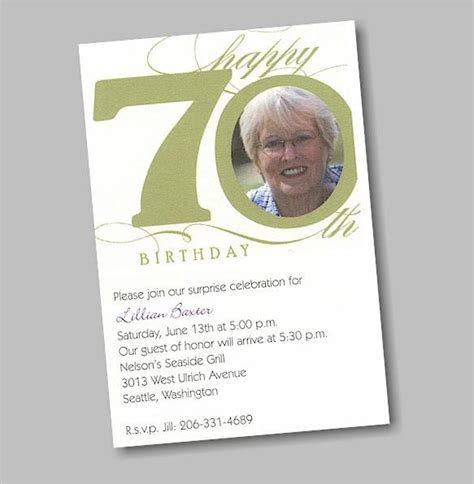 70th birthday invitation card template 70th birthday invitations invitations templates