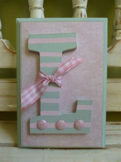 Shabby Chic Baby Custom Initial Wall Letters Monogram Name Shabby Chic Wall Letters