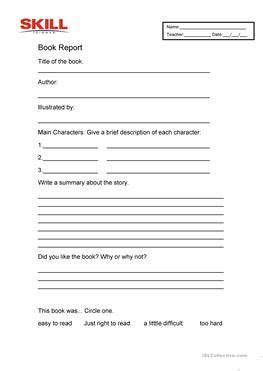 esl book report 27 free esl book report worksheets