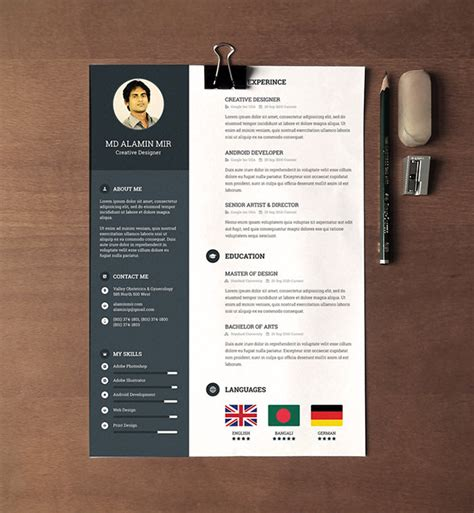 design cv photoshop 30 free beautiful resume templates to download hongkiat