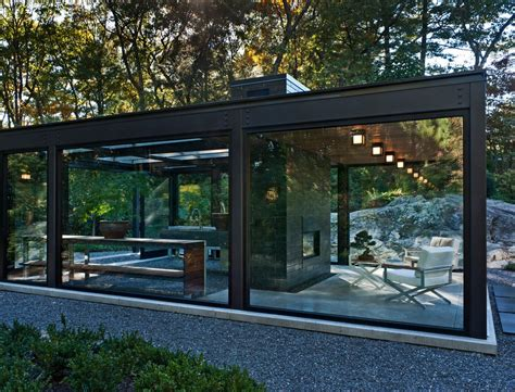 exposed steel beams and glass